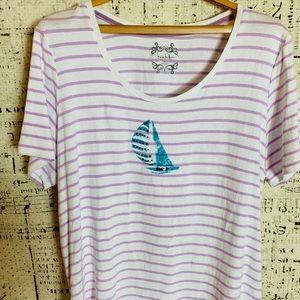 🍒 Nicole Miller 1X Plus Striped sailboat Tshirt